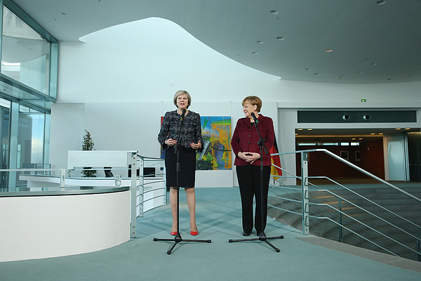 Angela Merkel And Theresa May Give Statements Following Talks Photograph by Sean Gallup