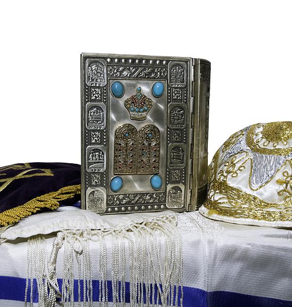 Antique Jewish Bible, Yarmulka & Tallis Photograph by JodiJacobson