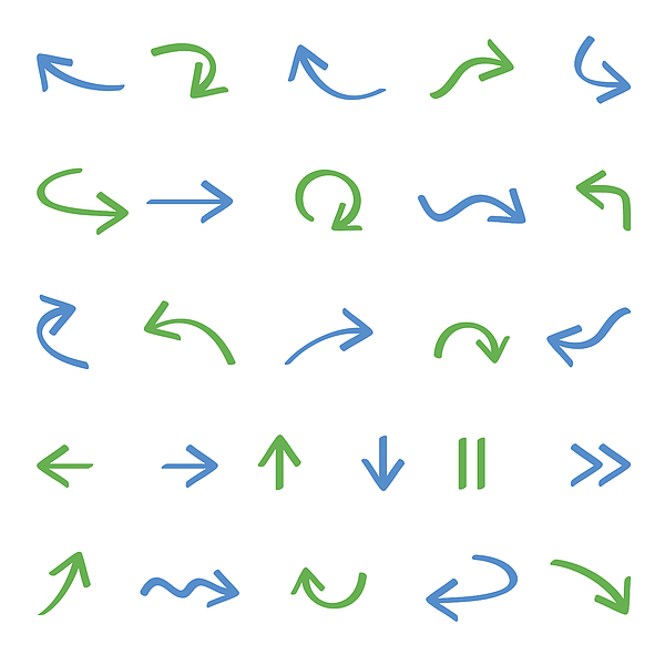 Arrows Icon Set Drawing by DivVector