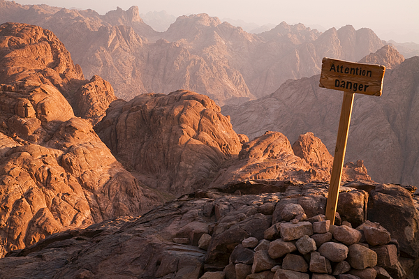 Attention Danger placed on Mount Sinai Photograph by photography by Philipp Chistyakov