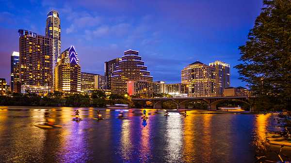 Austin, Texas Downtown Skyline at Night Photograph by CrackerClips