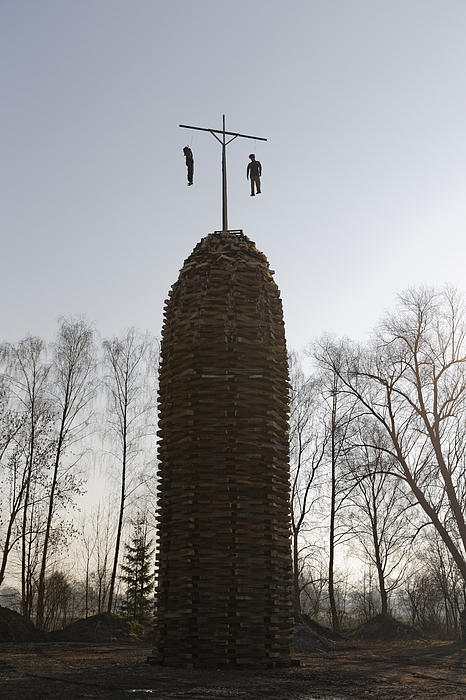 Austria, Vorarlberg, Rhine Valley, Lauterach, Wood Tower With Witches For Bonfire Photograph by Westend61