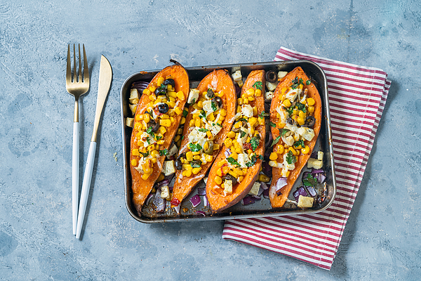 Baked Sweet potatoes with corn tofu  olives Photograph by Carlo A