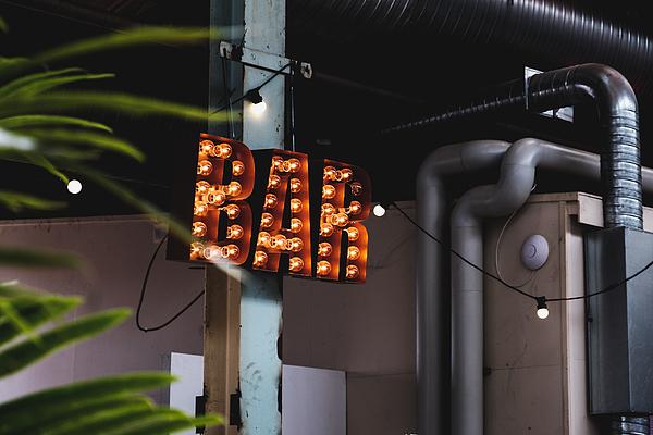 Bar sign with light bulbs Photograph by Finn Bjurvoll Hansen