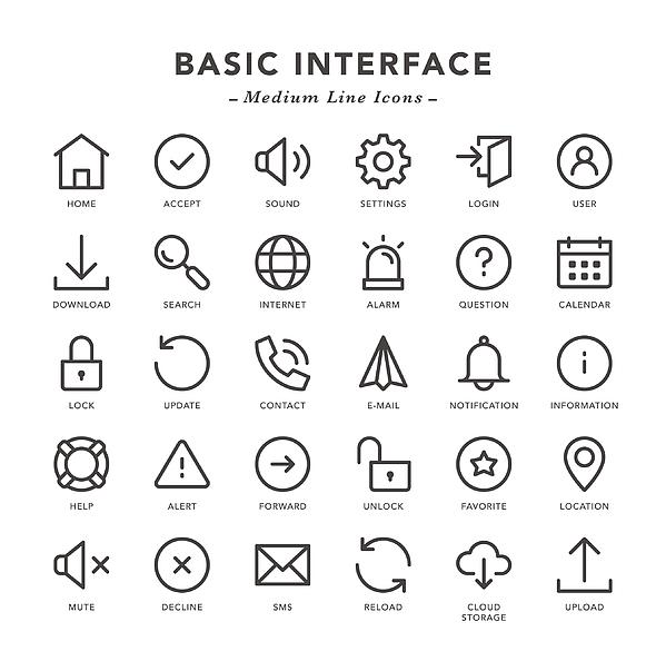 Basic Interface - Medium Line Icons Drawing by TongSur