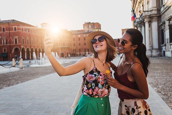 Beautiful Two Young Women Taking A Selfie Photograph by DaniloAndjus