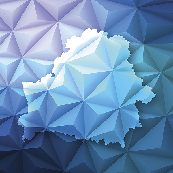 Belarus on Abstract Polygonal Background - Low Poly, Geometric Drawing by Bgblue