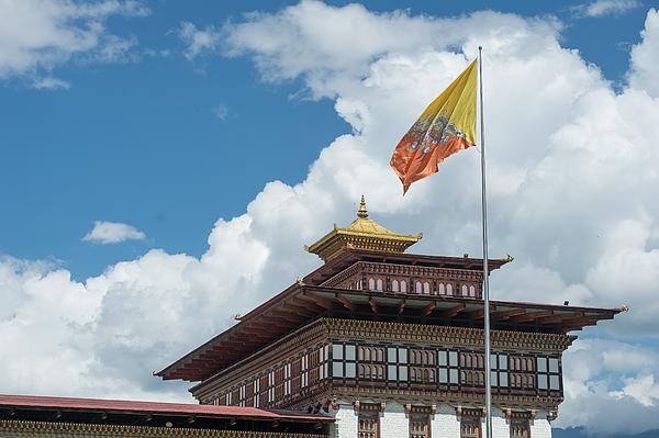 bhutan national flag at Trashi Choe Dzong, Thimphu Photograph by Skaman306
