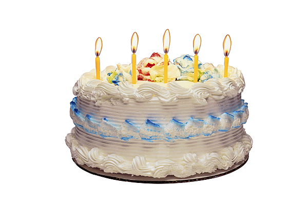 Birthday Cake With Candles Photograph by Comstock