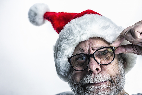 Bizarre Anxious Fearful Santa Claus Photograph by Willowpix