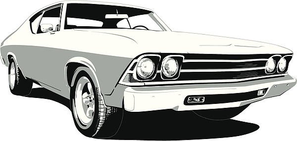 Black & White 1969 Chevelle Ss Drawing by Schlol