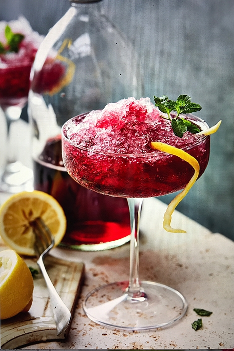 Black currant crushed ice and lemon Photograph by Heidi Coppock-Beard