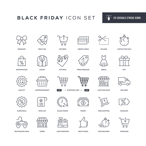 Black Friday Editable Stroke Line Icons Drawing by Enis Aksoy
