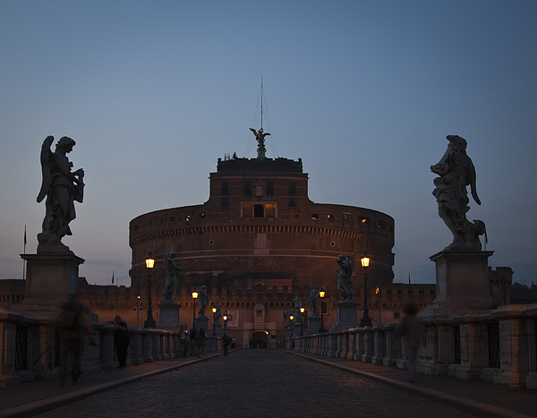 Blue hour in Castel SantAngelo Photograph by Adriano Ficarelli