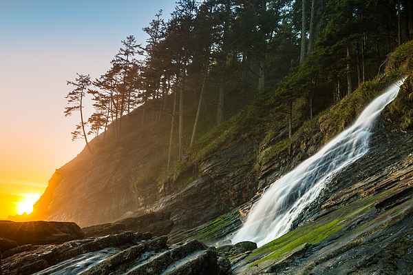 Blumenthal Falls Sunset At Short Sands Beach, Oregon Photograph by Michaelschober