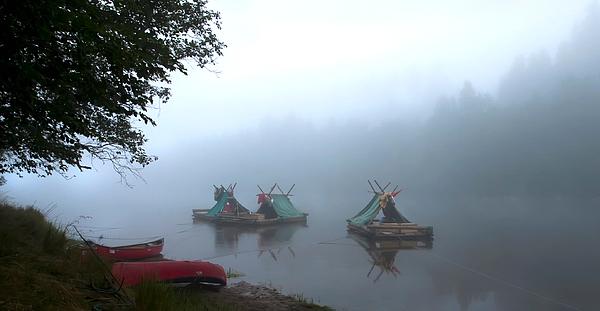 Boats In Calm Misty Lake Photograph by Paulien Tabak / EyeEm