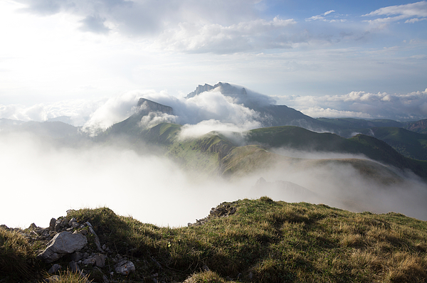 Bolshoy Tkhach in clouds, mountain landscape, Adygea Photograph by Vyacheslav Argenberg