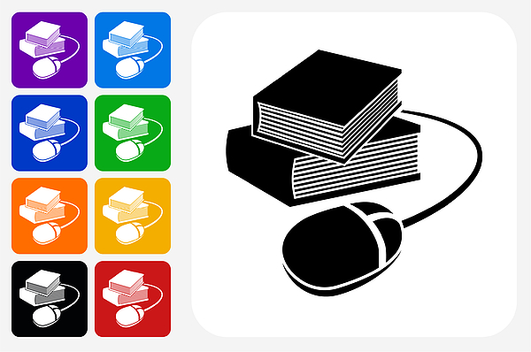 Books And Computer Mouse Icon Square Button Set Drawing by Bubaone
