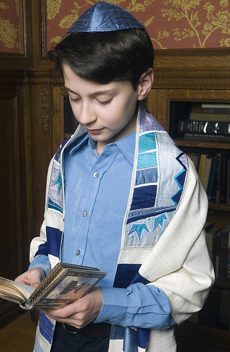 Boy Reading from Torah Photograph by Leland Bobbe