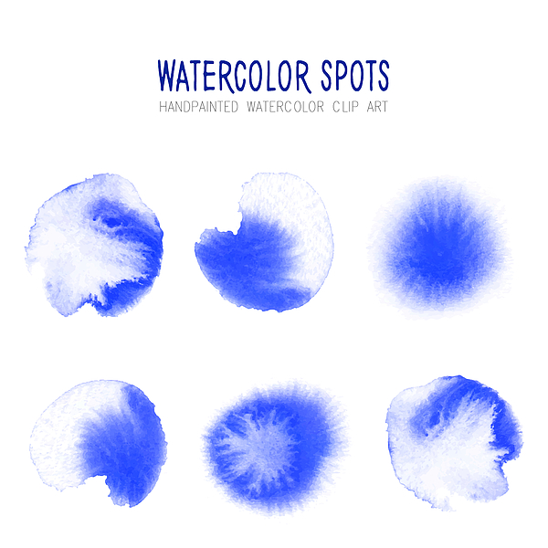 Bright Blue Watercolor Circle Splashes Set Isolated on White Background. Blue Ink Patches Set. Watercolor Circles or Spots Collection. Design Element for Greeting Cards and Labels, Abstract Background. Drawing by Gokcemim