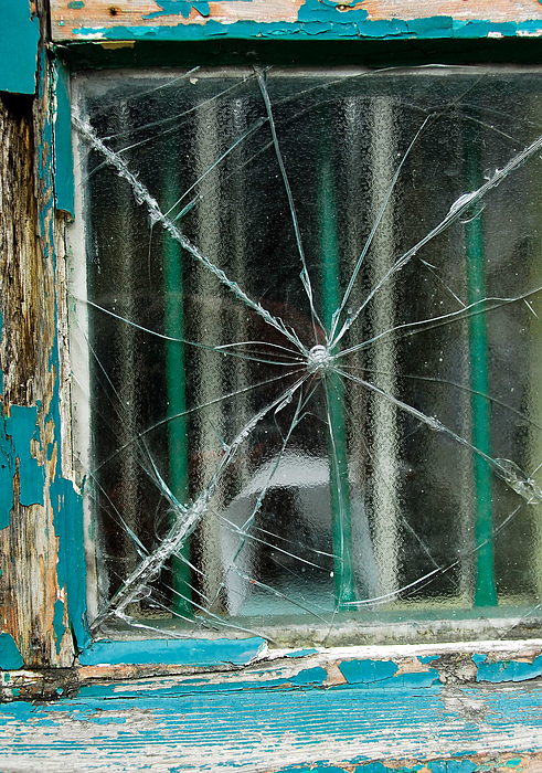 Broken window with blue peeling paint on frame Photograph by Lyn Holly Coorg