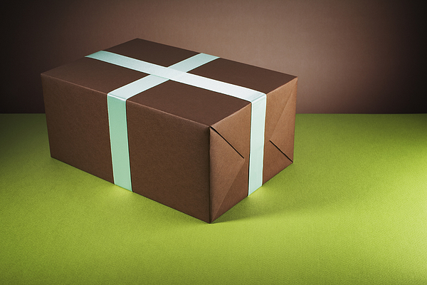 Brown gift box Photograph by Microzoa Limited