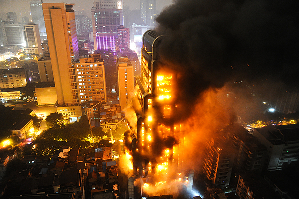 Building Ablaze In Guangzhou Photograph by Getty Images