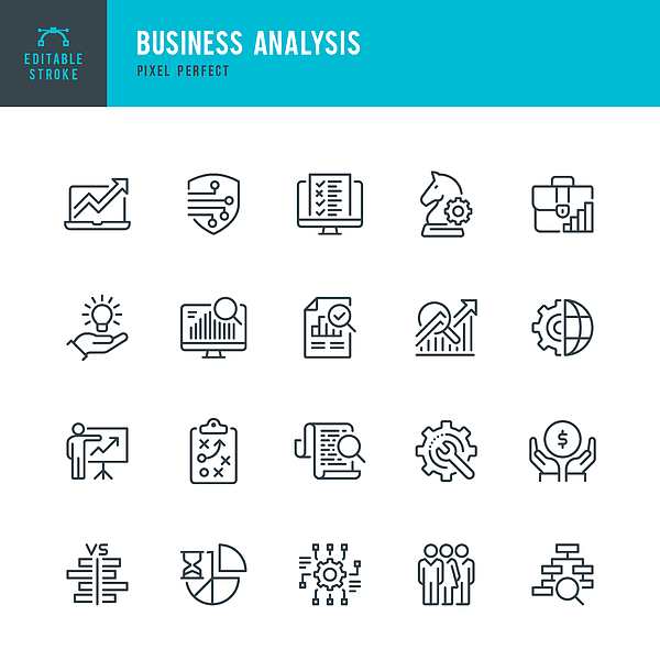 Business Analysis - thin line vector icon set. Pixel perfect. Editable stroke. The set contains icons: Business Strategy, Big Data, Solution, Briefcase, Research, Data Mining, Accountancy. Drawing by Fonikum