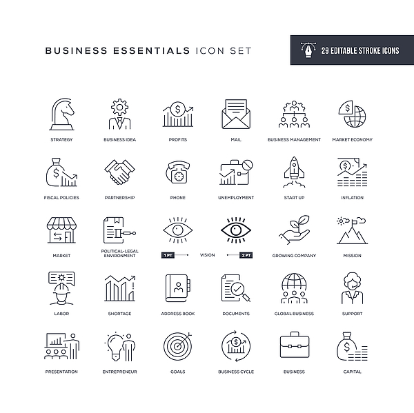 Business Essentials Editable Stroke Line Icons Drawing by Enis Aksoy