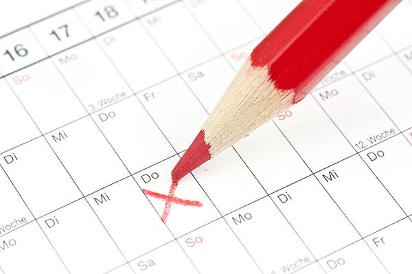calender red cross on Thursday - German calendar with crayon Photograph by Wakila