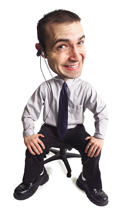 Caricature Of A Young Goofy Male Telemarketer As He Flashes A Cheesy Smile Photograph by Photodisc