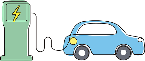 Charging Station With Electric Car, Vector Icon Drawing by Hakule