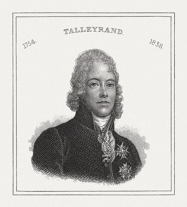 Charles-Maurice de Talleyrand-Perigord (1754-1838), French statesman, steel engraving, published 1843 Drawing by Zu_09