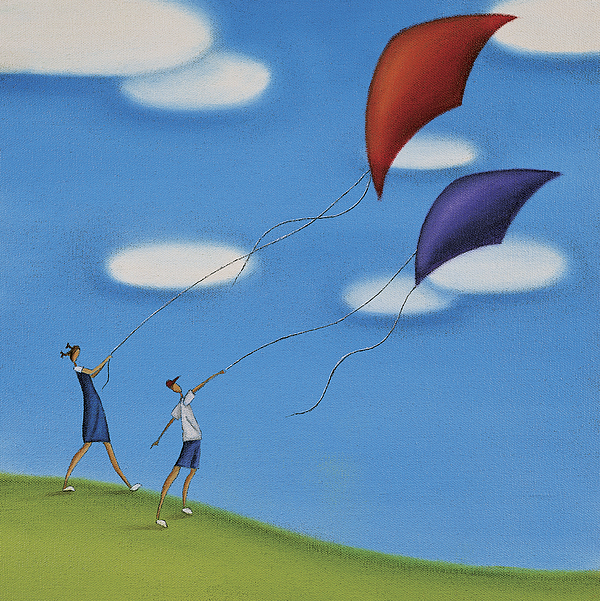 Children Flying a Kite on a Hill Drawing by Mandy Pritty