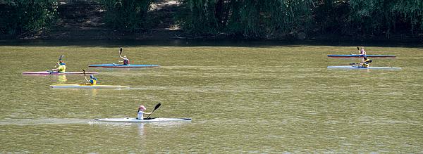 Children Kayaking On The River Tisa Photograph by Slavica