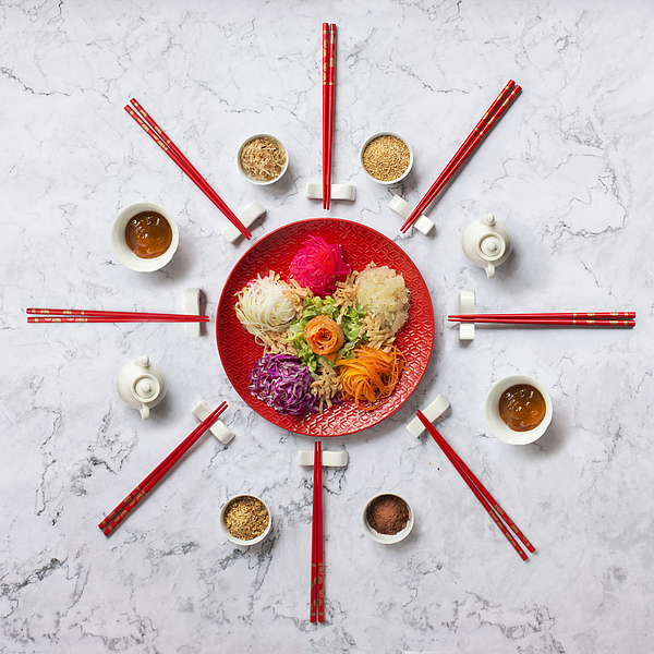 """Chinese new year food """"Yusheng"""". Photograph by Twomeows"""