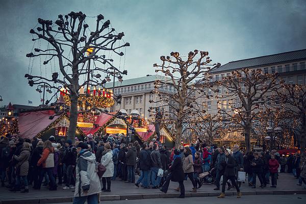Christmas market fairy ambiance at the Hamburg Rathaus Markt Photograph by Laura Battiato