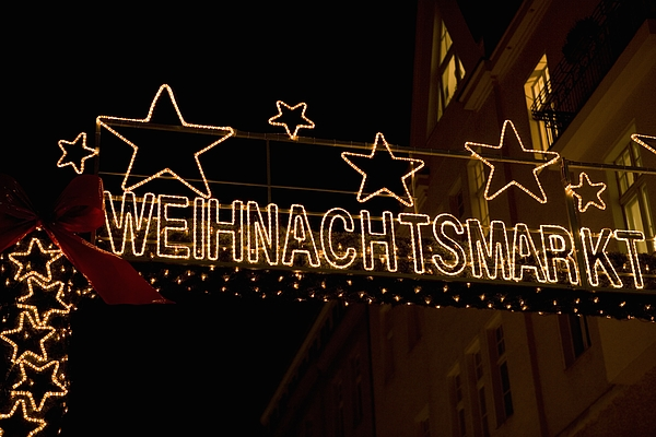 Christmas market sign, Berlin, Germany Photograph by Martin Diebel
