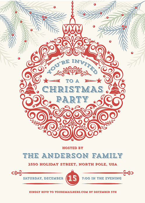 Christmas Ornament Party Invitation Drawing by Jammydesign