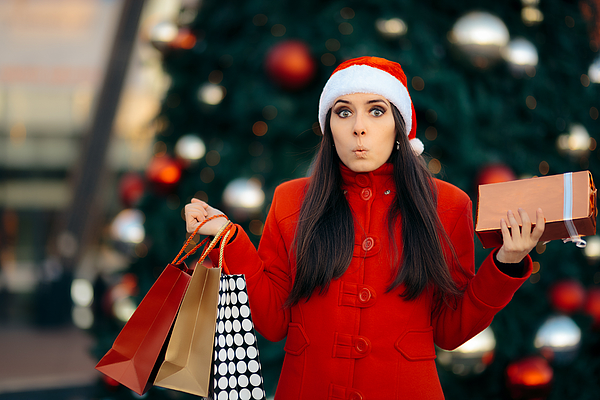 Christmas Shopping Girl with Bags and Gift Box Photograph by Nicoletaionescu