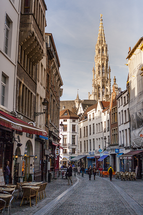 City Hall spire at tourist street Photograph by Merten Snijders