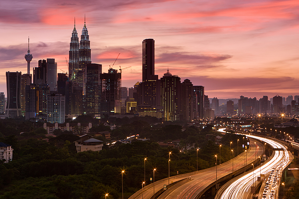City Skyline - Kuala Lumpur At Dusk Photograph by Bartosz Hadyniak