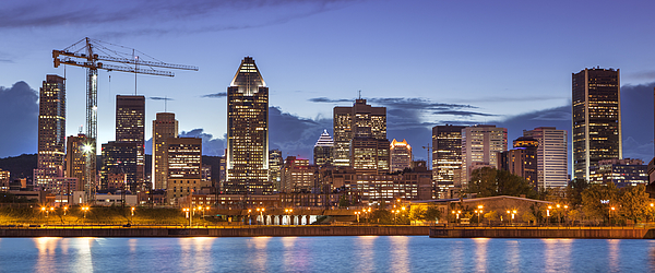 City Skyline Panorama At Night, Montreal, Canada Photograph by Pgiam