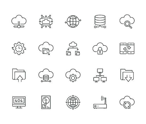Cloud Data Technology Line Icon Set Drawing by Kadirkaba