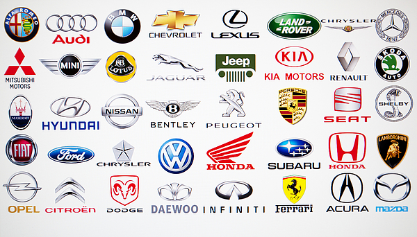 Collection Of Car Brand Logos Photograph by Aleksle