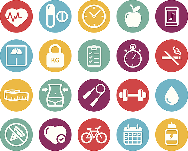 Colourful healthy lifestyle and fitness icons Drawing by Mustafahacalaki