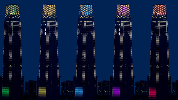 Composite Of 5 Images Of The Exchange 106, The 106-floor Building Is Topped With 12 Storey High Illuminated Crown Making It 452m Tall. Photograph by Shaifulzamri
