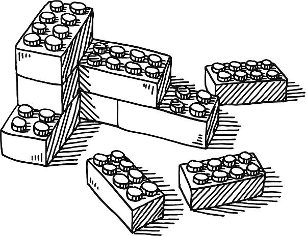 Construction Blocks Toy Drawing Drawing by FrankRamspott
