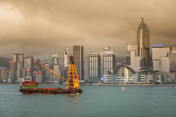 Container crane ship in victoria harbour Photograph by Merten Snijders