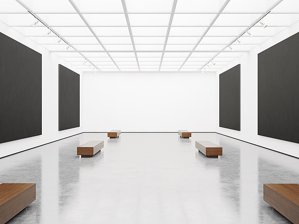 Contemporary gallery interior with black canvas on wall Photograph by Sfio Cracho